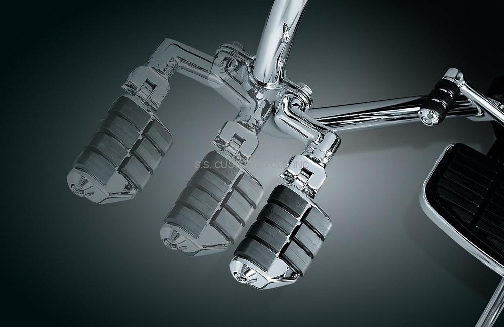 "Kuryakyn Longhorn Offset Dually Highway ISO Pegs 1/"" Engine Guard Bars Chrome"