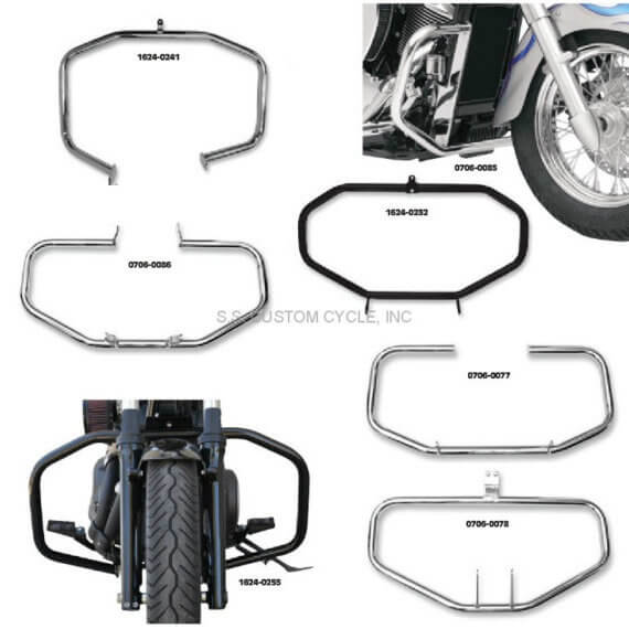 "Baron full size engine guards mount directly to bike's frame for strength Fabricated from sturdy 1-1/4​"" diameter, 1/8​"" thick steel tubing Made in U.S.A."